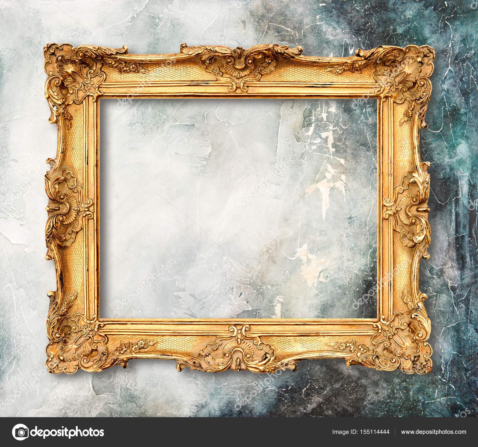 Goldrahmen auf Grunge Hintergrund Stein Textur — Stockfoto ...