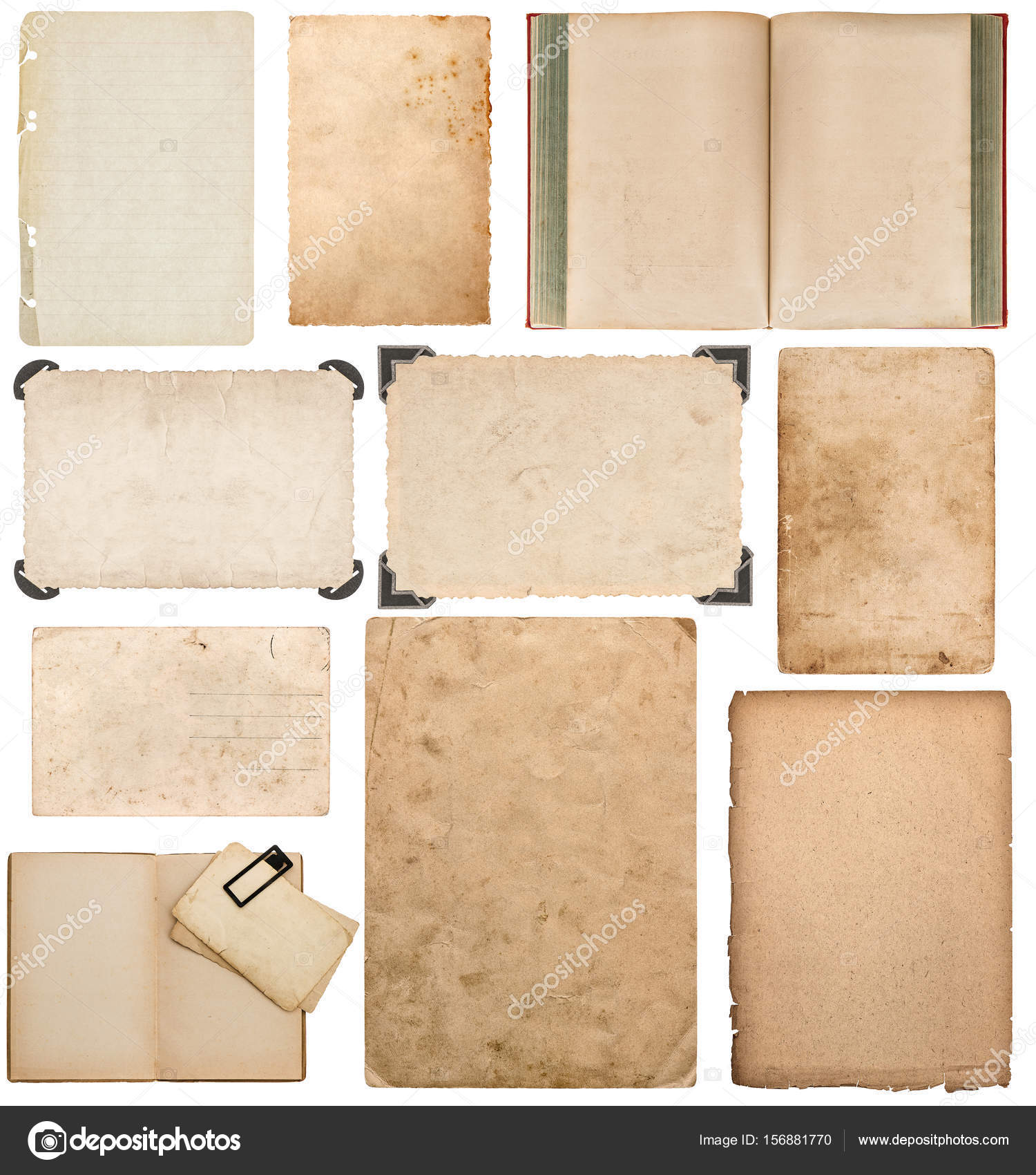 paper sheet book cardboard photo frame corner scrapbook stock