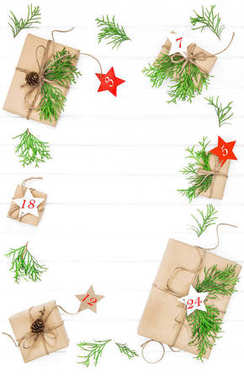 Advent calendar. Wrapped gifts with christmas decoration. Flat lay stock vector