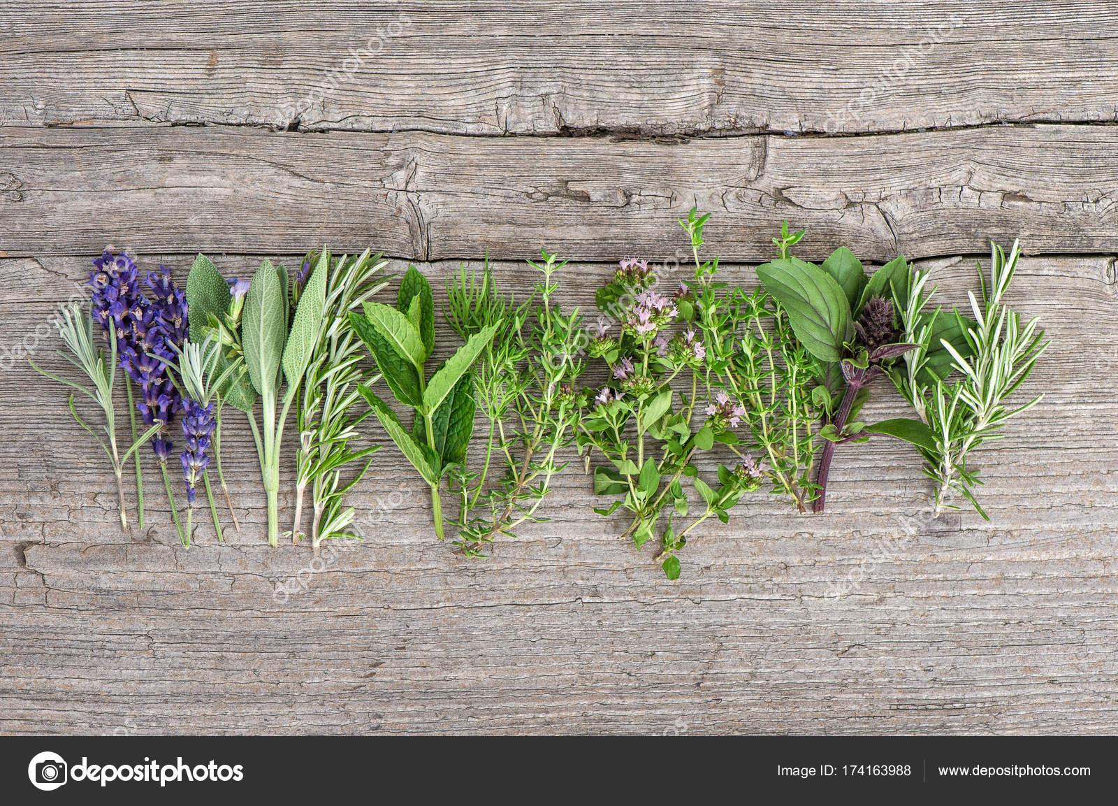 Priorità bassa dell alimento di erbe fresche cucina in legno