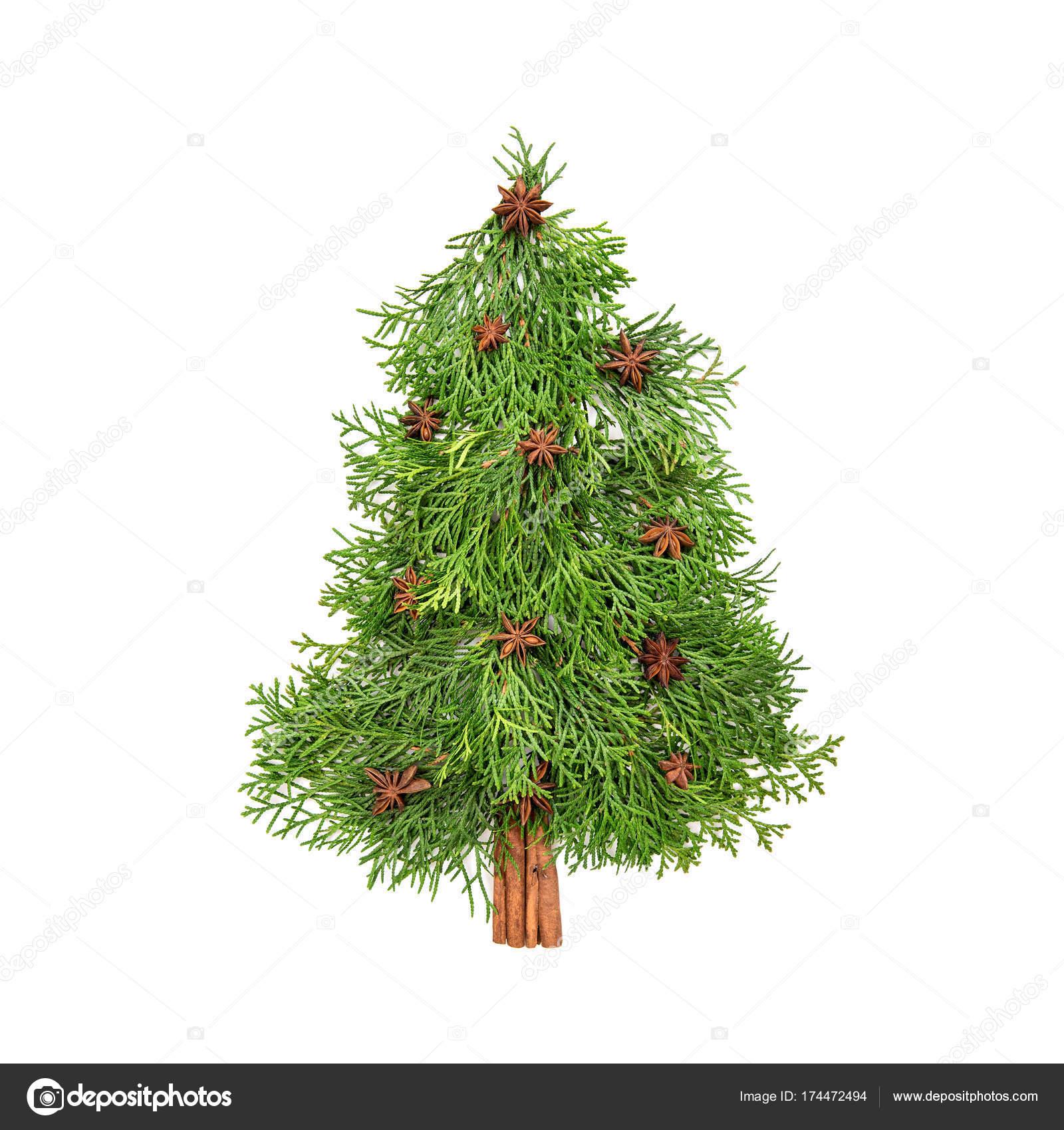 Weihnachtsbaum Kaufen Essen.Stilvolle Weihnachtsbaum Weißen Hintergrund Chreative Essen Flach Zu
