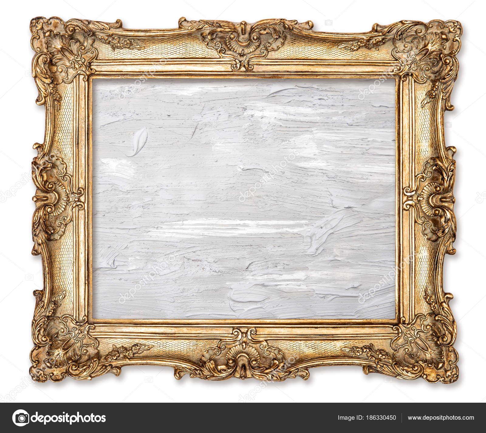 Aceite de marco de oro cuadro pintado lienzo blanco fondo — Fotos de ...