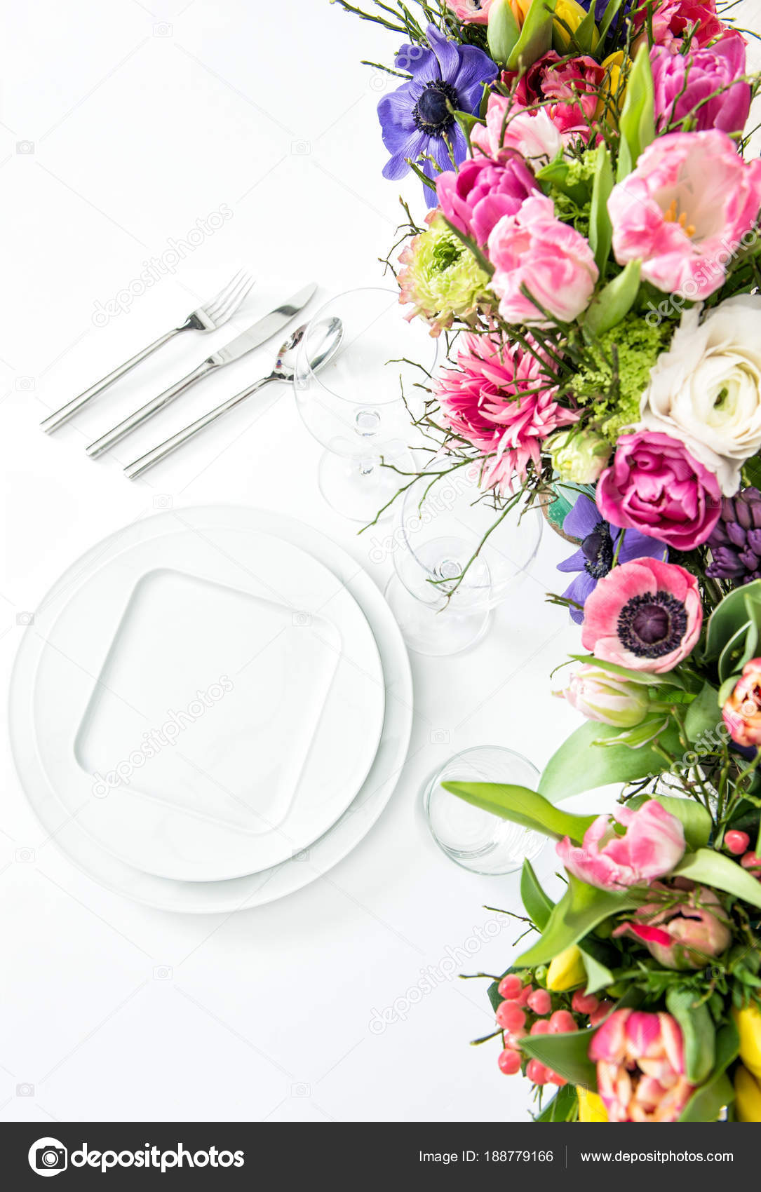 Place setting spring flowers white background table decoration place setting spring flowers white background table decoration stock photo mightylinksfo