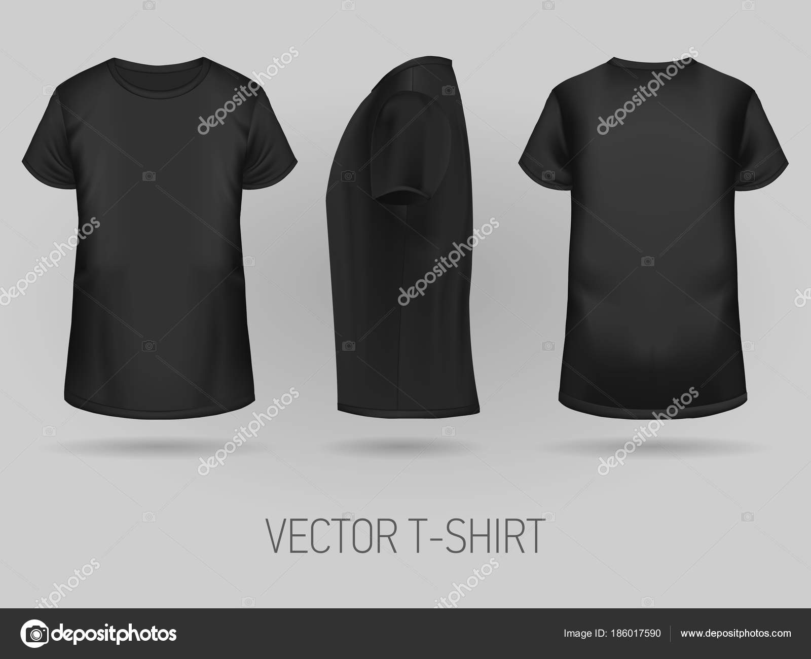 Black T Shirt Template In Three Dimentions Stock Vector
