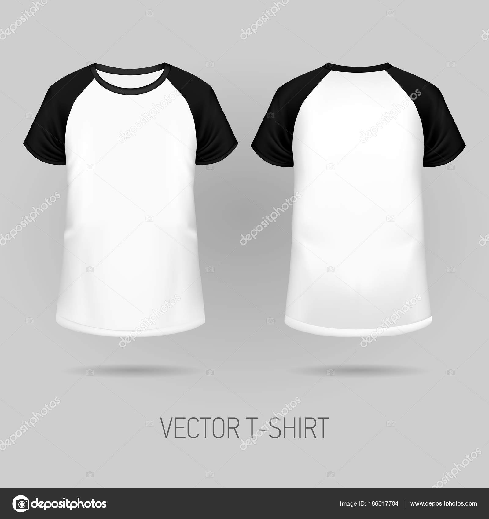 9032e69ad8 Camiseta Raglan con negro manga corta en frente y espalda