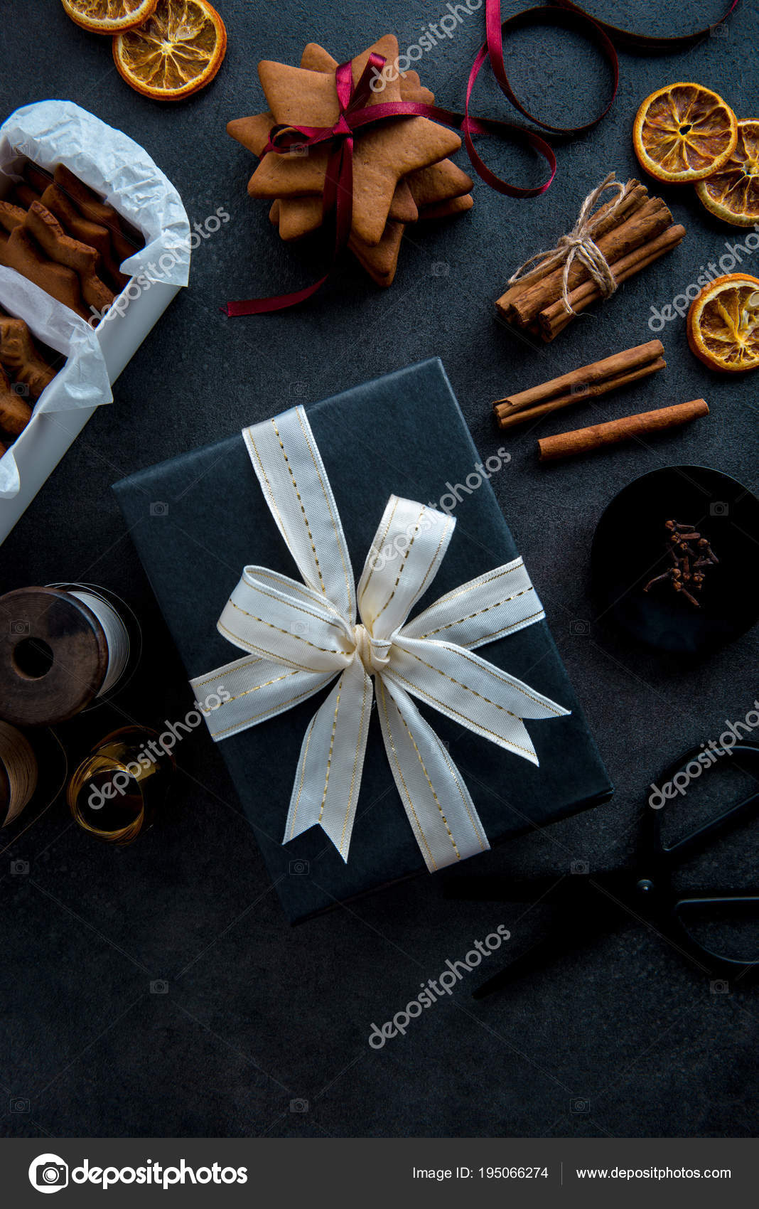 Gift wrapping for Christmas. Materials and accessories for wrapp ...