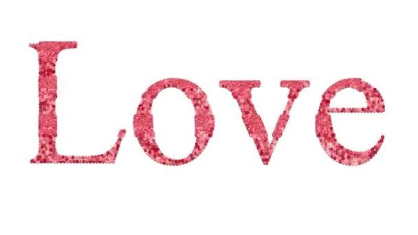 Love word pink glitter sequins with sparkles fashion style motion animation concept isolated background. Digitální ilustrace 3d 4k záznam.