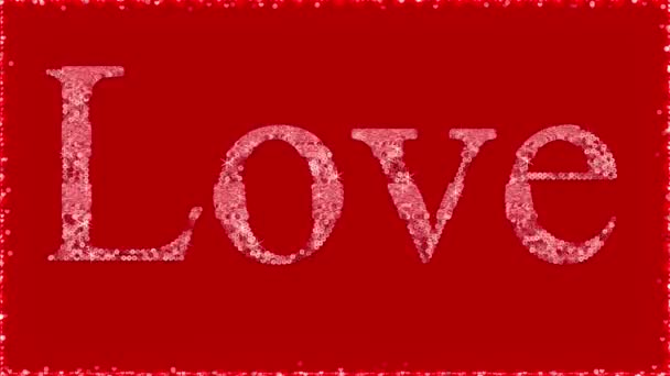 Love 3d text pink glitter sequin with sparkles fashion slogan motion animation. Many hearts along the edges of red background. Digital illustration 3d 4k footage. Clothing fabric patch application.