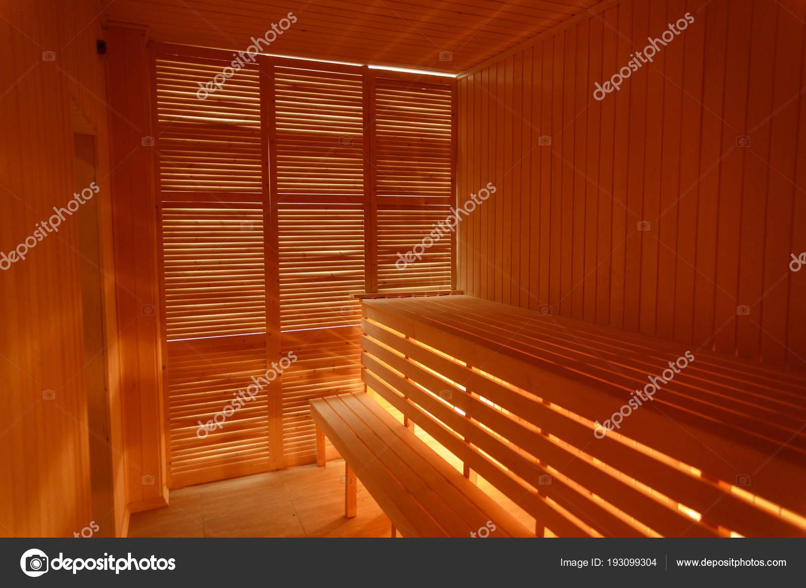 Sauna Da Casa.Interior Da Pequena Casa De Madeira Sauna Stock Photo