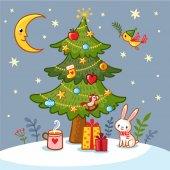 Christmas card with Christmas tree and gifts
