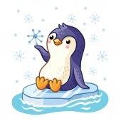 Fotografia Pinguino galleggia su un lastrone di ghiaccio galleggia