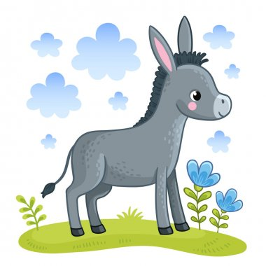 Cartoon donkey standing in clearing