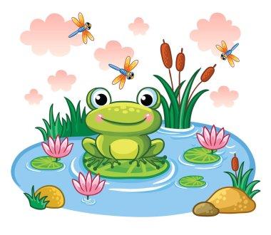 Frog sits on leaf in pond
