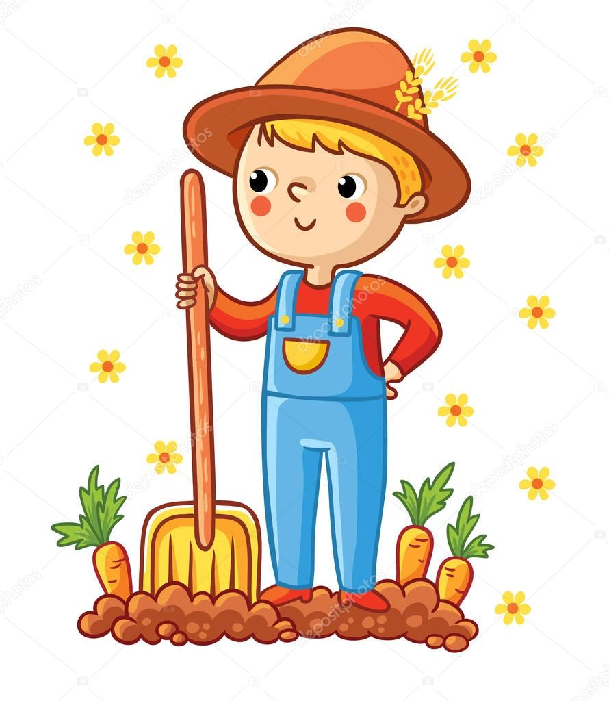 Young farmer in garden with carrots
