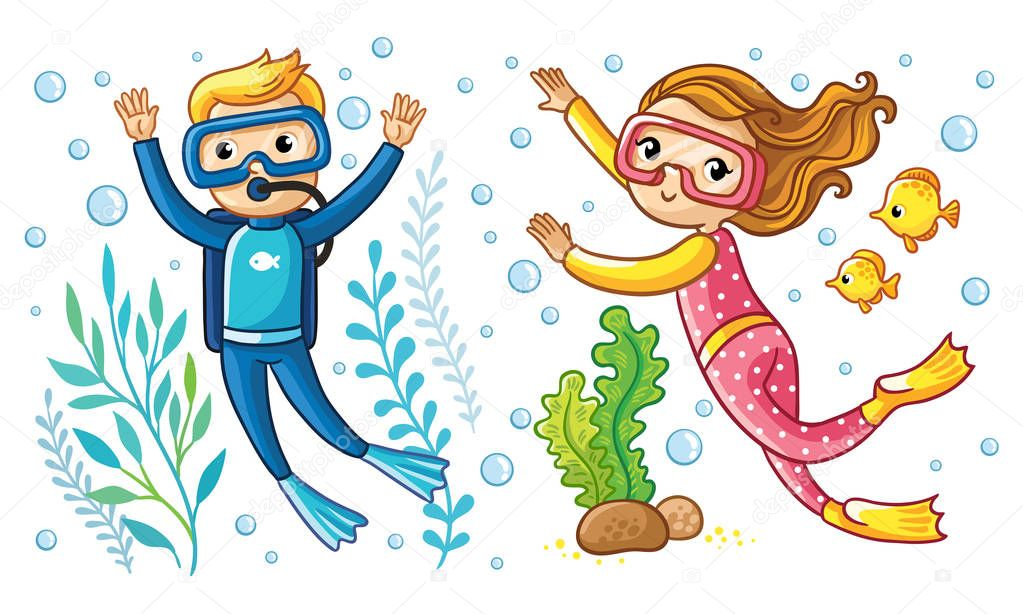 Boy and girl swim under water