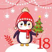 Fotografie Pinguin hält Weihnachtsbaum in der Hand