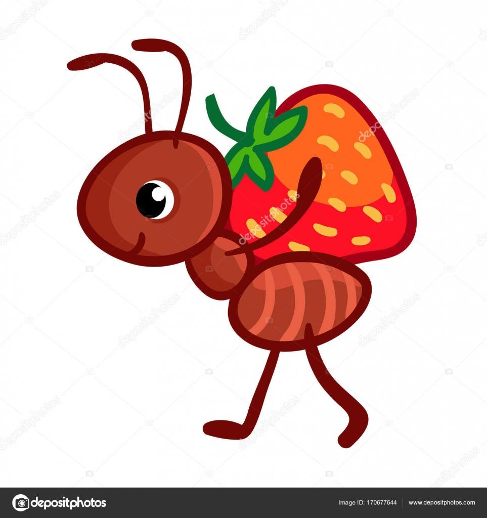 hormiga de color de dibujos animados con fresa vector de stock  u00a9 svaga 170677644 ant clip art with alphabet ant clip art free