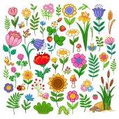 kreslené květiny a rostliny