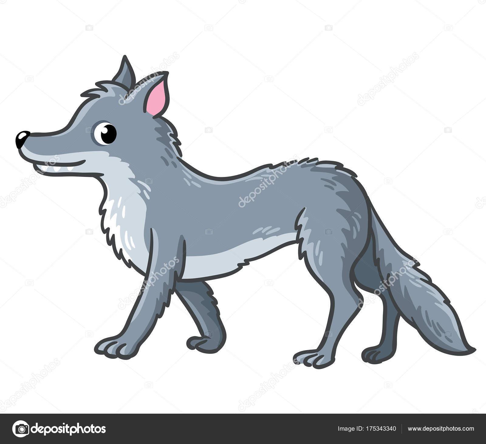 Animado Lobos Animados Lobo De Dibujos Animados Lindo Vector De