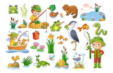 Set of cartoon characters on fishing and nature theme