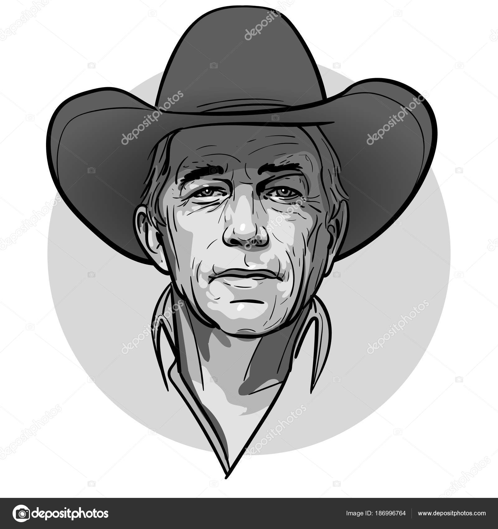 Classic Old Western Style Cowboy With Hat And Bandana Cartoon Sketch Vector Illustration By Tissen