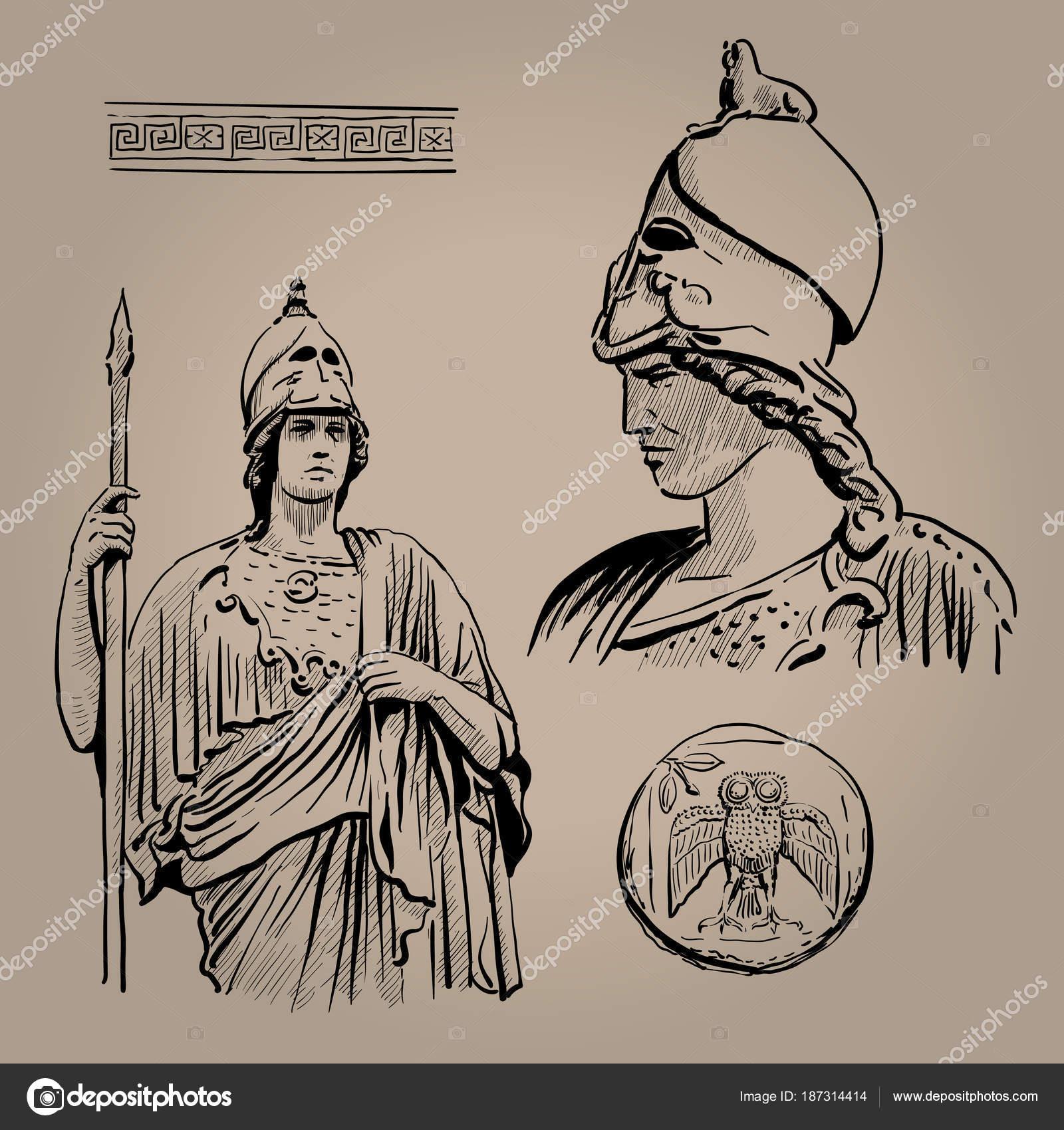 Goddess Of Wisdom Drawing Athena Pallas Ancient Greek