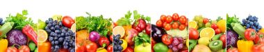 Panoramic collection fresh fruits and vegetables isolated on whi
