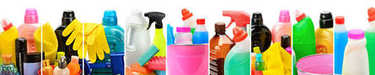set of household chemicals, bucket and brushes for cleaning isol