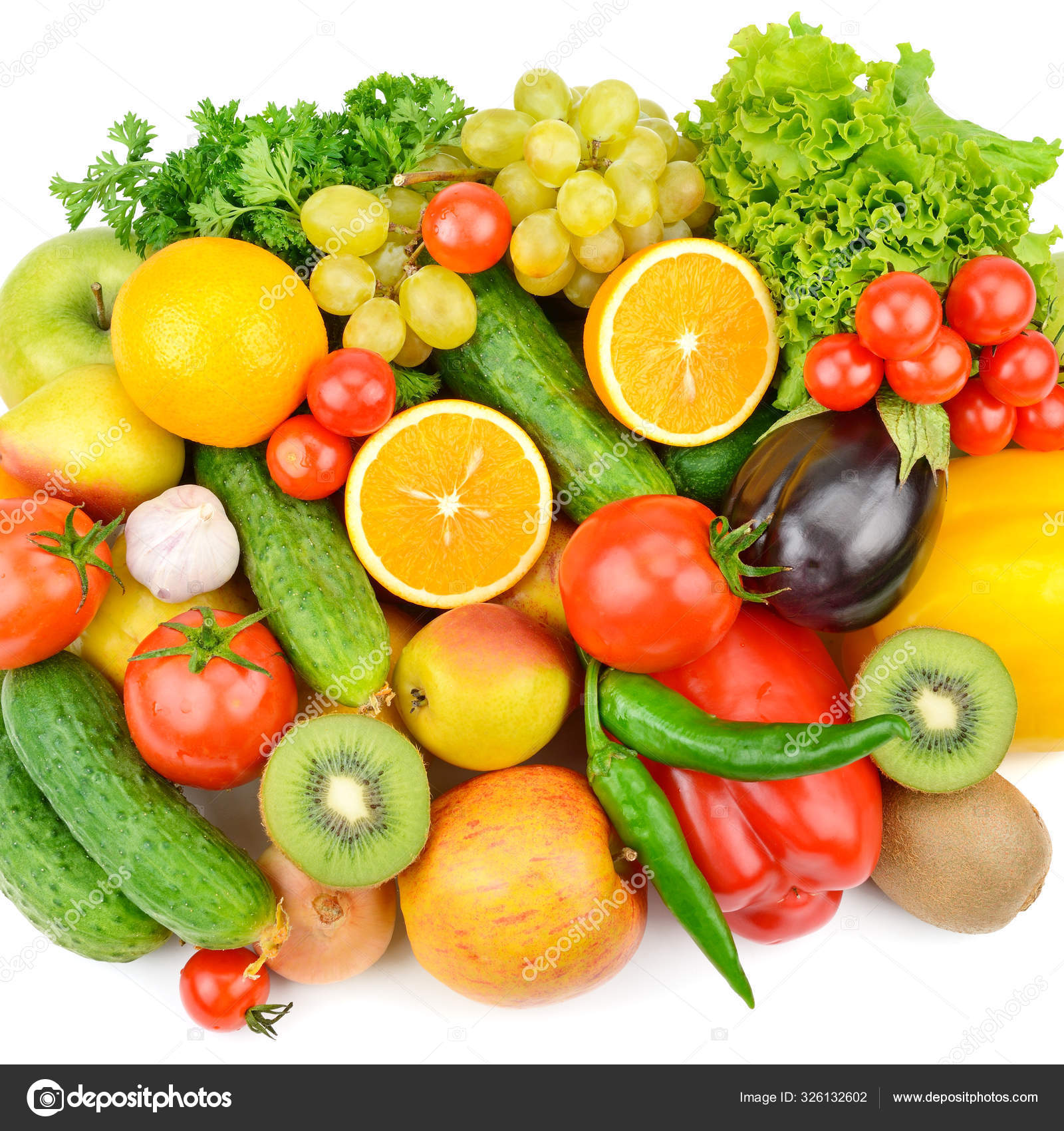 Фрукты и овощи на белом фоне. Плоская кладка, т — Стоковое ...