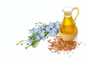 Linseed oil, flaxseed and flowers isolated on a white background. Free space for text.