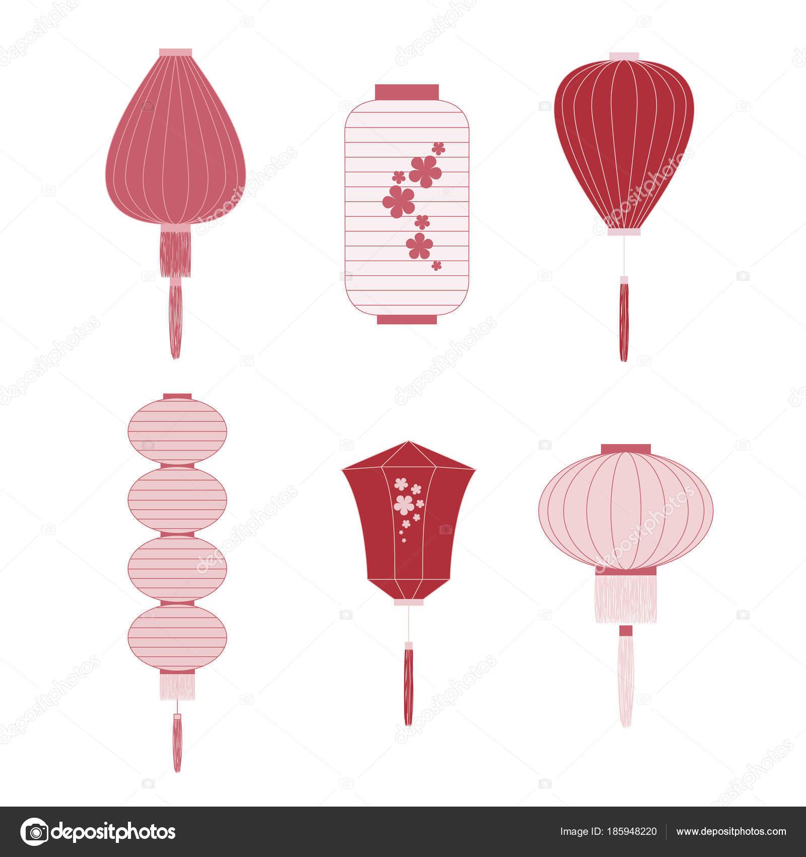 Juego Linternas Chinas Colores Rojos Blancos Diferentes Formas Para