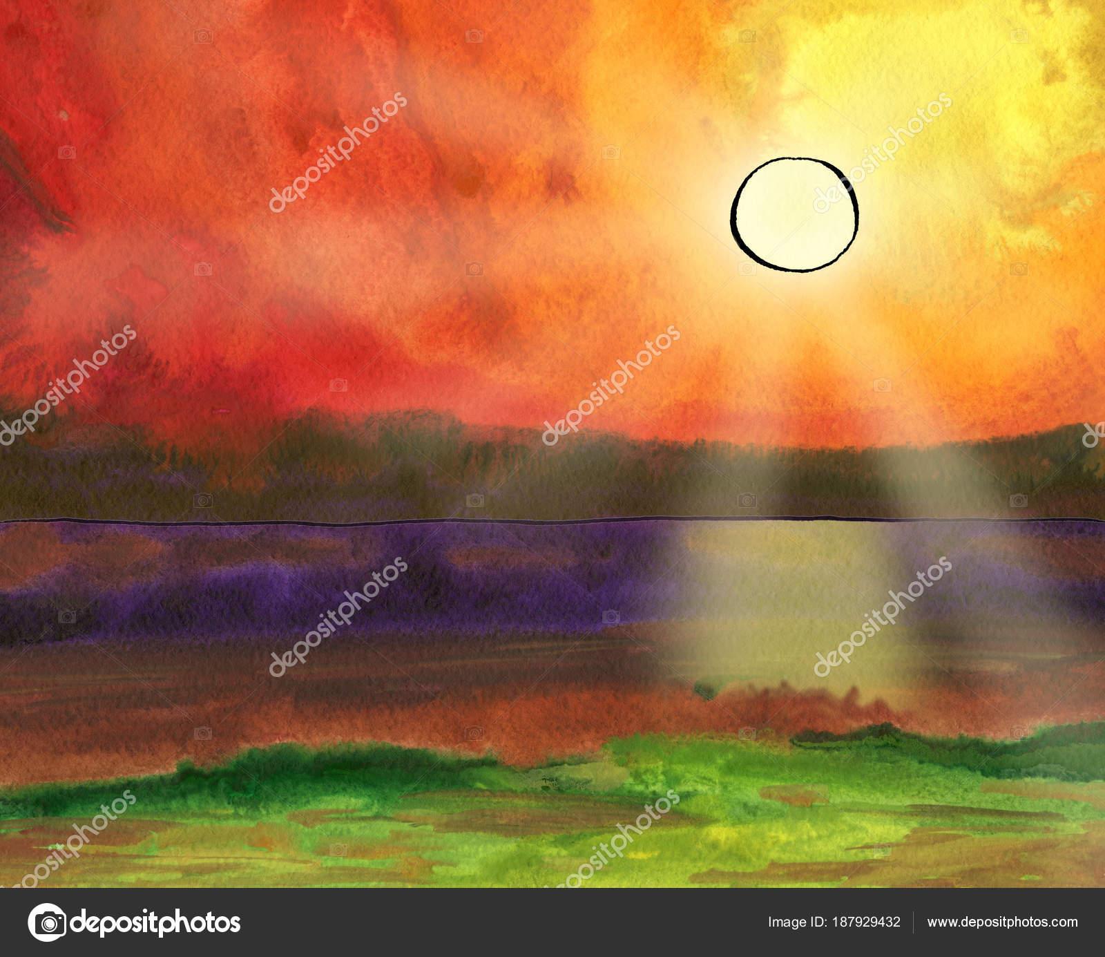 Fantazie Akvarel Krajina S Slunce Slunecni Paprsky A Panorama