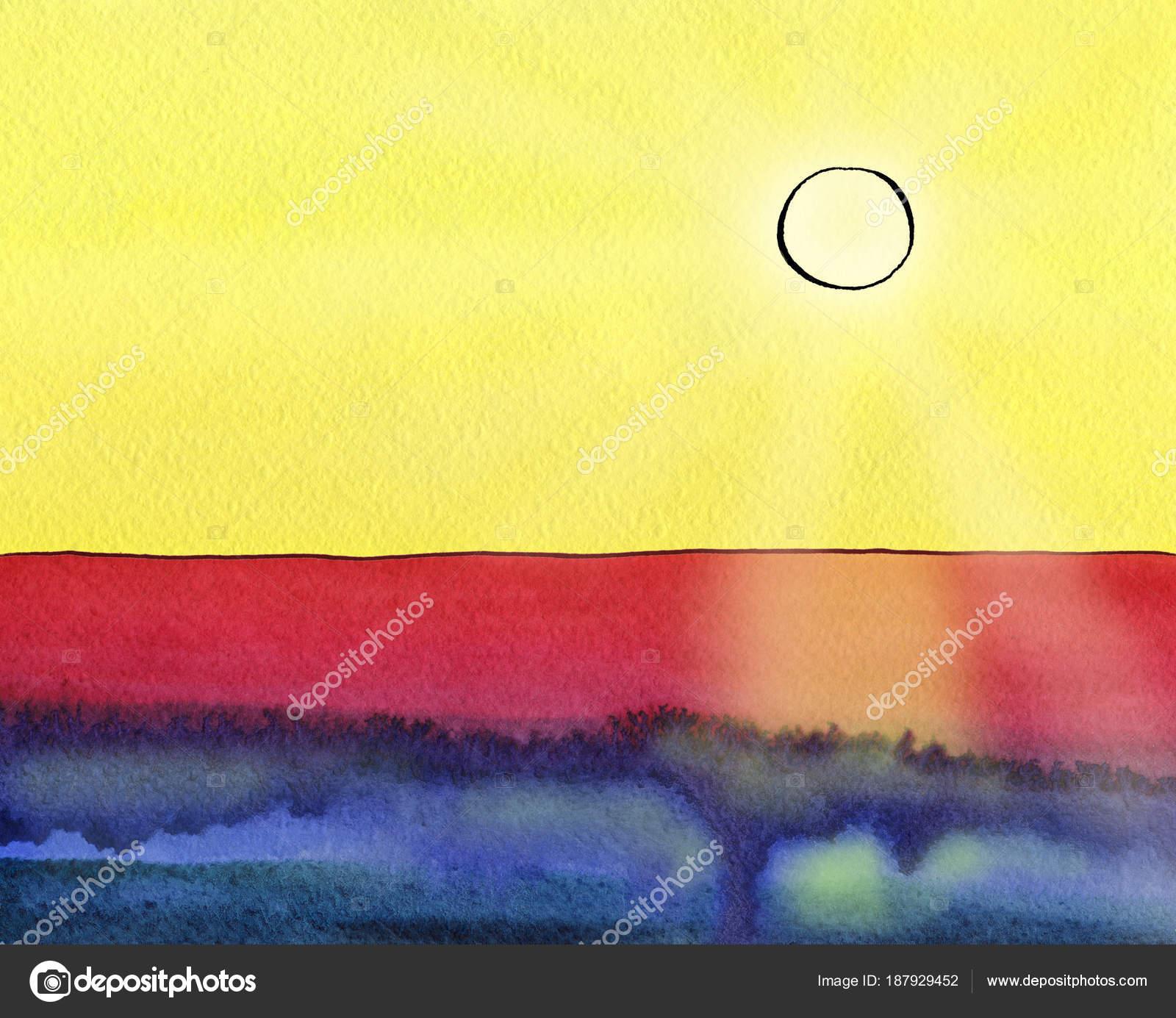 Fantazie Akvarel Krajina S Slunce Paprsky Panorama A Stock