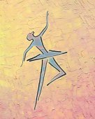 Photo Dancing ballerina. Ink drawing and oil painting.