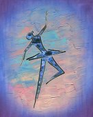 Photo Dancing ballerina. Ink drawing, watercolor and oil painting.