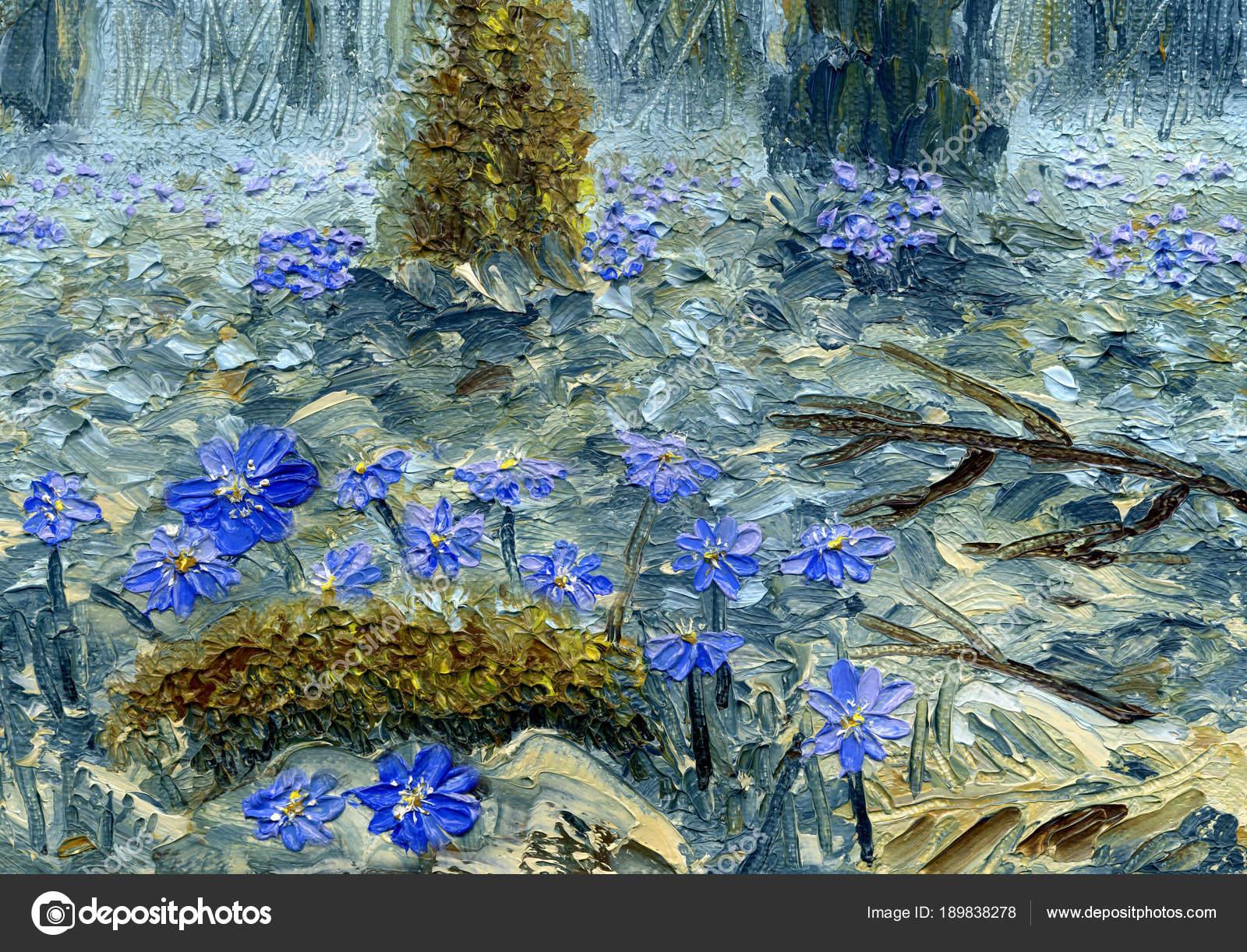 Blue Flowers Of Hepatica Nobilis Close Upoil Painting Stock
