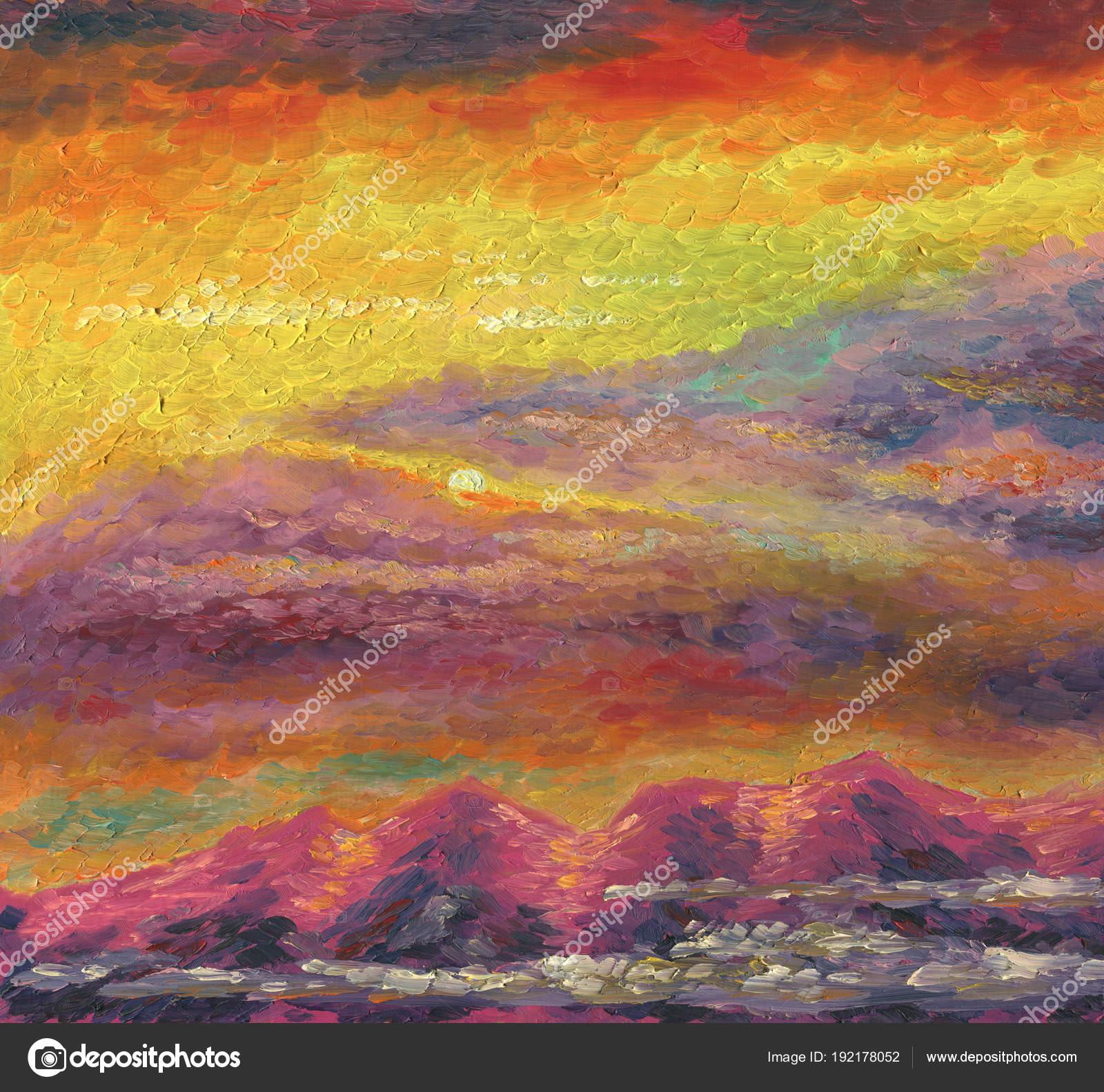 Peinture à Lhuile Coucher De Soleil Sur Les Montagnes