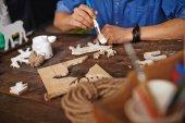 Human hands during creative artwork