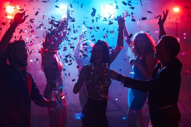 Girl toasting with champagne during dance