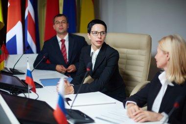 Members of international team at debates
