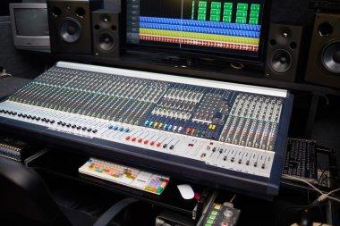 Empty modern sound recording studio