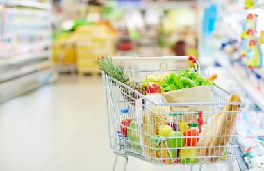 shopping cart with different food