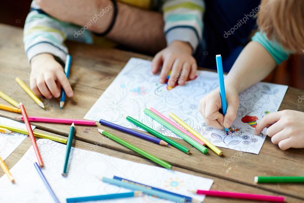Children drawing coloring with pencils together — Stock Photo ...