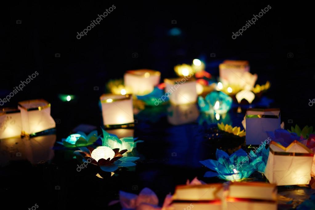 Multicolored paper lanterns at festival