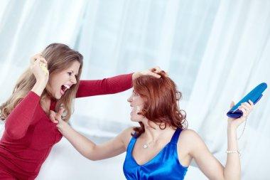 Furious women having a quarrel