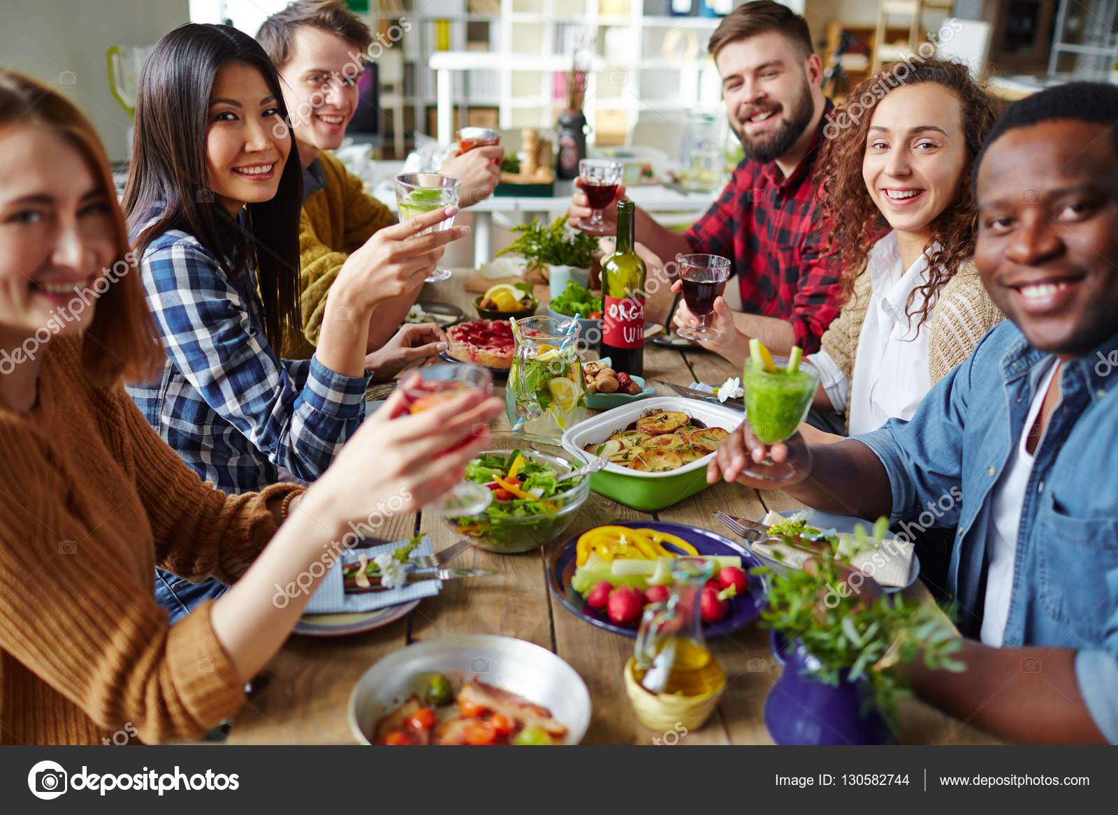 Friends at Thanksgiving dinner — Stock Photo © pressmaster #130582744