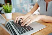 Fotografie Femeal hands typing on laptop