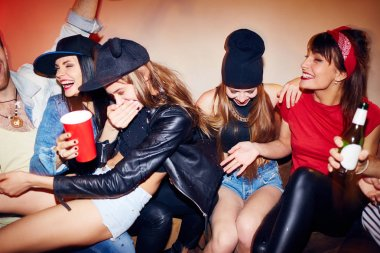 Group of several young people getting drunk