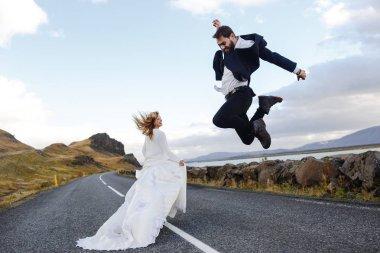 happy newlyweds on honeymoon