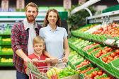 Fotografia famiglia con il carrello della spesa pieno